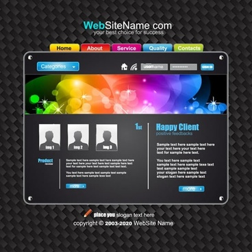 dynamic web template vector navigation interface