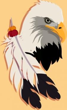 eagle head icon feather decoration colored flat design