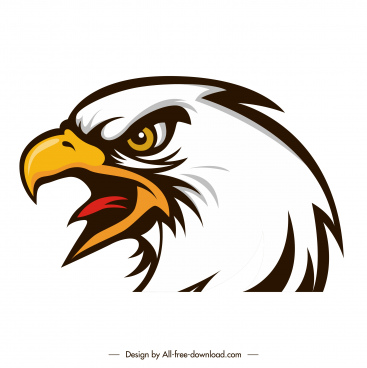 eagle head icon furious emotion sketch colored flat