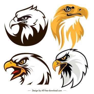 eagle head icons flat handdrawn sketch