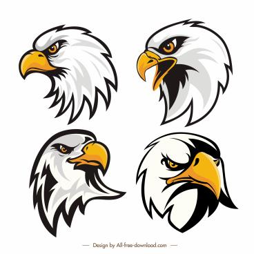 eagle head logotypes flat handdrawn sketch
