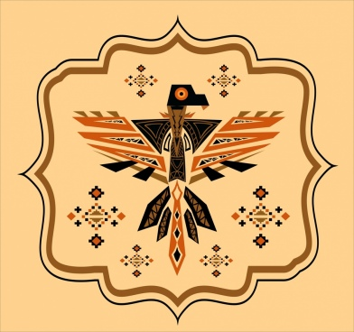 eagle icon geometric tribal style colored flat decoration