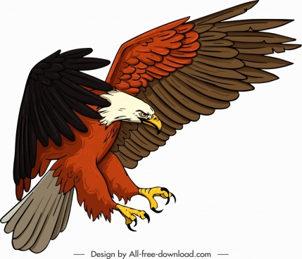 eagle icon hunting gesture cartoon sketch