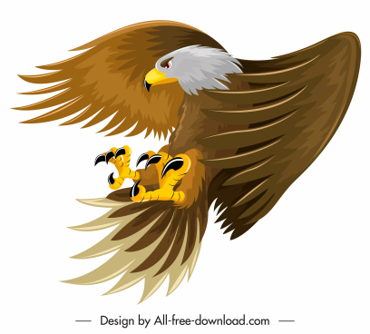 eagle icon hunting sketch colored cartoon design