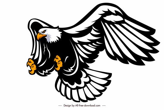 eagle icon hunting sketch dynamic handdrawn design