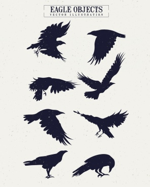 eagle icons collection silhouette design