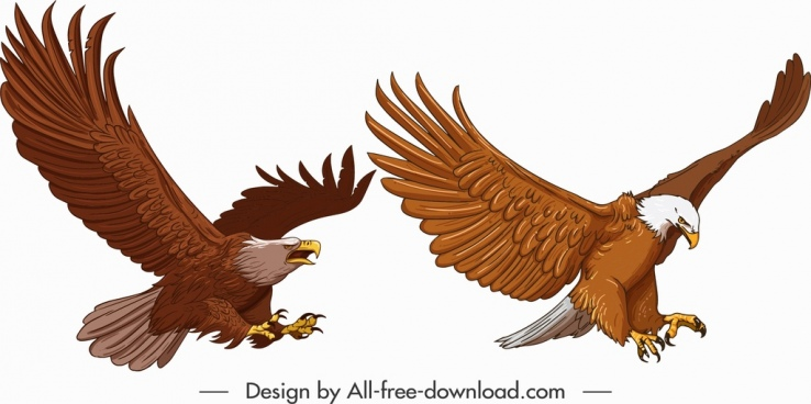 eagle icons hunting gesture sketch cartoon design