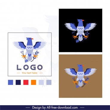 eagle logo template colorful flat symmetric sketch