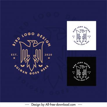 eagle logo template flat handdrawn sketch symmetric design