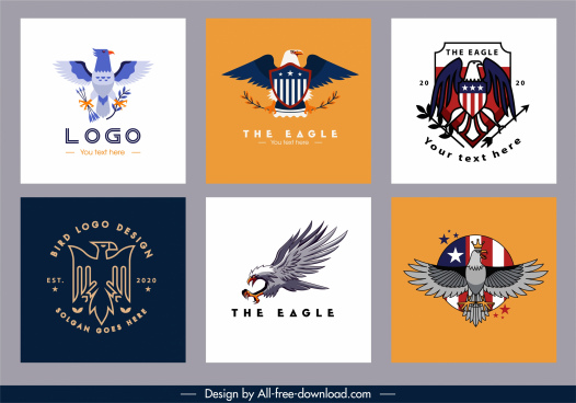 eagle logo templates colorful flat elegant design