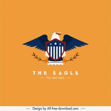 eagle logotype colored flat symmetrical design