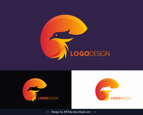 eagle logotype modern colored silhouette design
