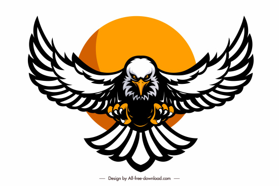 eagle logotype powerful flying sketch symmetric handdrawn design