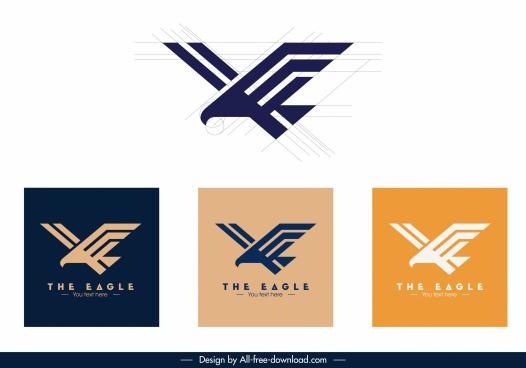 eagle logotypes flat geometric sketch