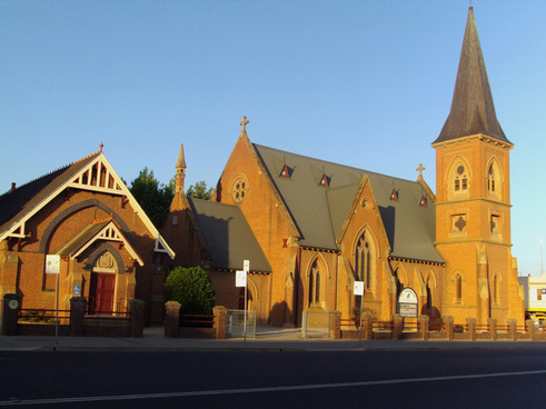 early morning light on presbyterian church in bathurst new south wales