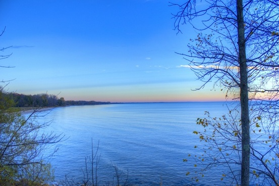 early morning over lake michigan at harrington beach state park wisconsin