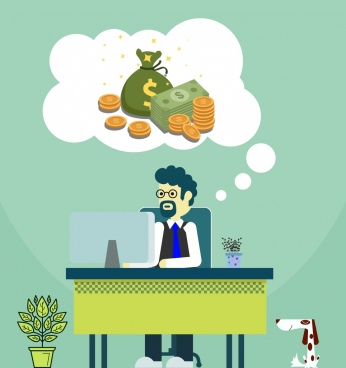 earning money background working man money thought icons