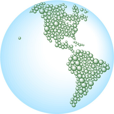 earth and bubble maps vector