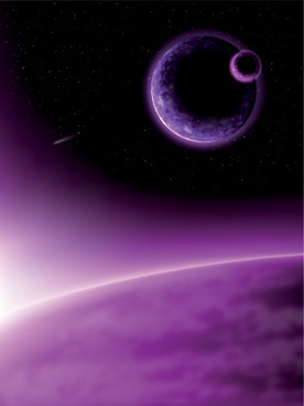earth and moon purple background