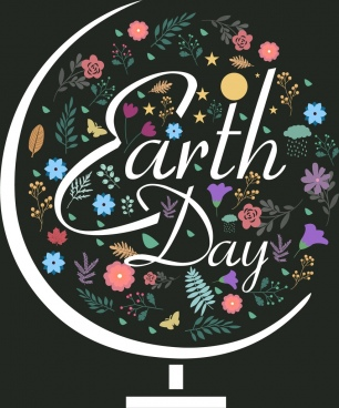 earth day background colorful floral decoration globe sketch