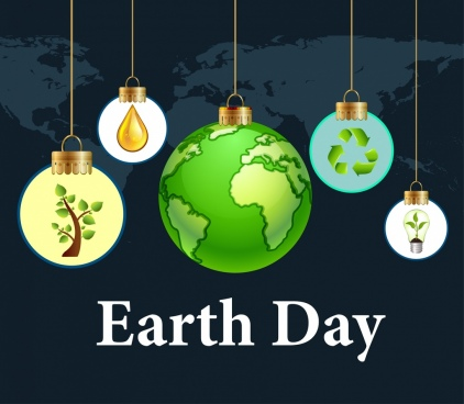 earth day background hanging lightbulb plante icons decoration