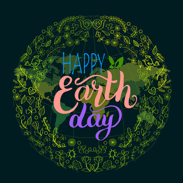 earth day banner design with abstract globe