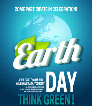 earth day banner design with vignette earth