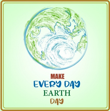 earth day banner globe icon colored handdrawn design