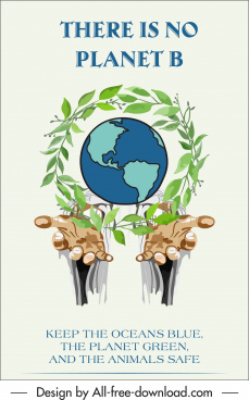 earth day banner globe wreath hands sketch