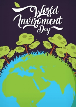 earth day banner green grass globe trees icons