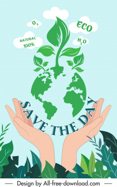 earth day banner hands planet trees sketch