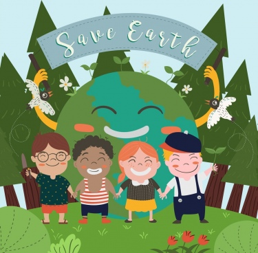earth day banner kids globe icons colored cartoon