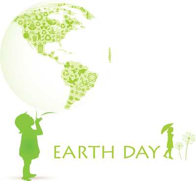 earth day banner on green and white background