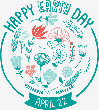 earth day flower design vector
