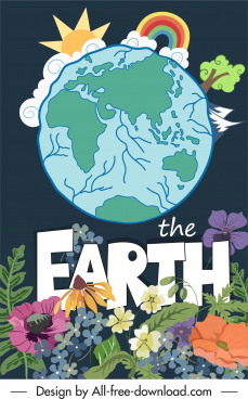 earth day poster globe elements sketch flowers decor