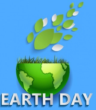 earth day poster green planet grass leaves icons