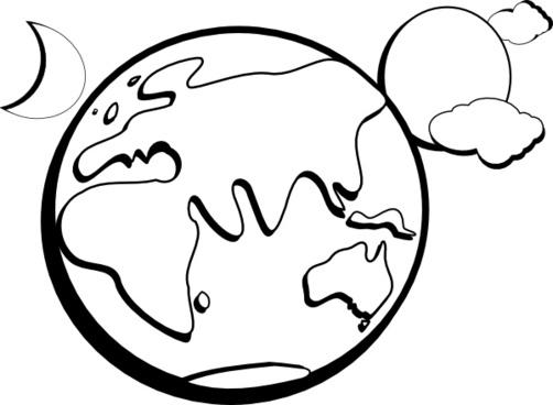 Earth Moon Sun Outline clip art