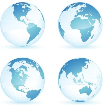 earth icons sets blue spheres design