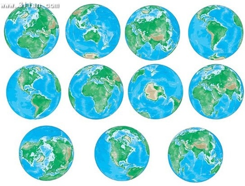 globe icons watercolor decor round isolation