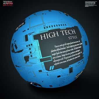earth with high tech background vector