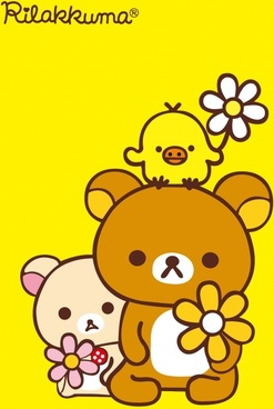 animal background cute bear chick icons flat sketch