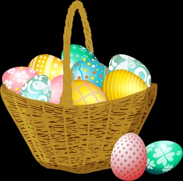 easter background basket colorful eggs icons decor