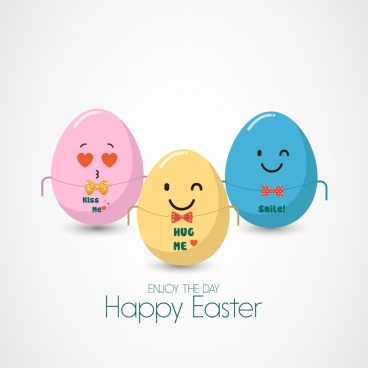 easter background colorful cute stylized eggs icon