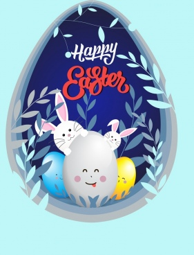 easter background eggs bunnies emoticon leaf decor
