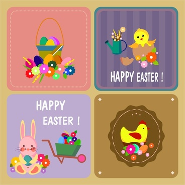 easter background templates collection in colored flat style