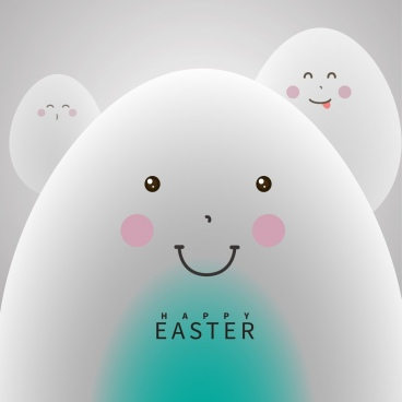 easter background white eggs icons cute stylized cartoon