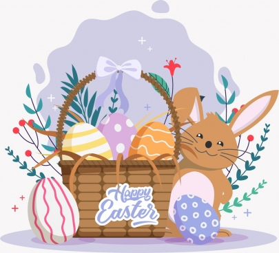 easter banner bunny basket eggs icons classical design