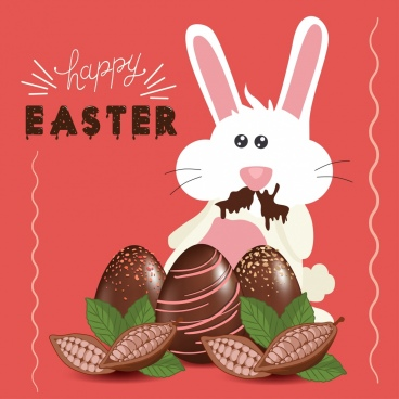 easter banner chocolate cacao rabbit icons decor