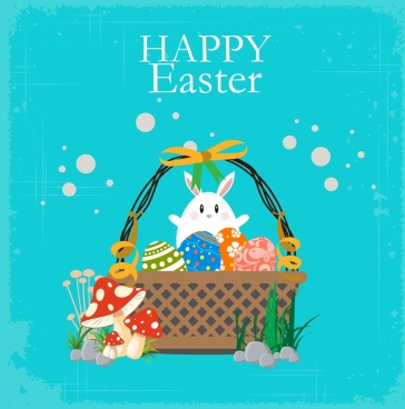 easter banner cute rabbit colorful eggs bag icons