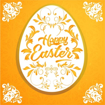 easter banner egg icon classical symmetric flowers decor